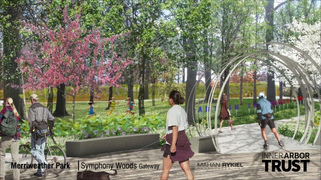 Architectural rendering of the northwest entrance of Merriweather Park in the Inner Aebor plan, including the Word Art feature