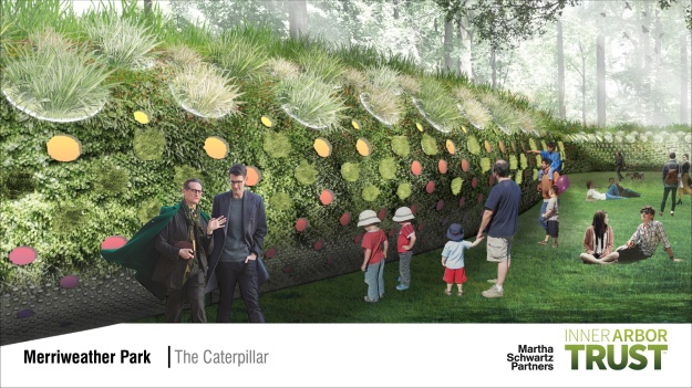 Architectural rendering of the Caterpillar feature