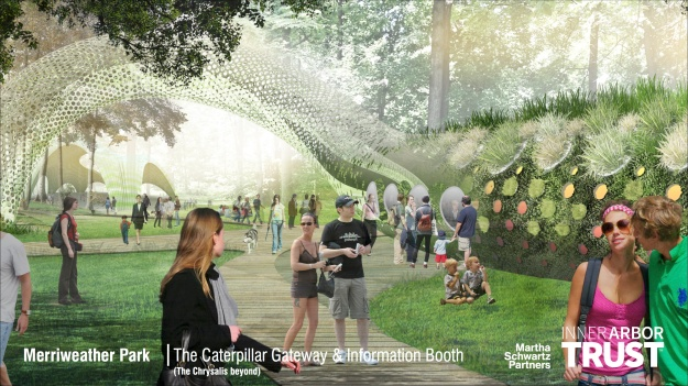 Architectural rendering of the Caterpillar Gateway and Information Booth