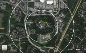 Merriweather Post Pavilion and surroundings. The two circles show areas within a quarter mile and half mile of the pavilion. Click for high-resolution version.