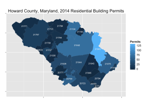 Howard County map showing residential building permits per zip code