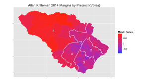 Allan Kittleman's victory margins by precinct.